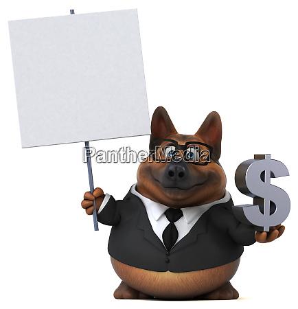 lustiger schaeferhund 3d illustration