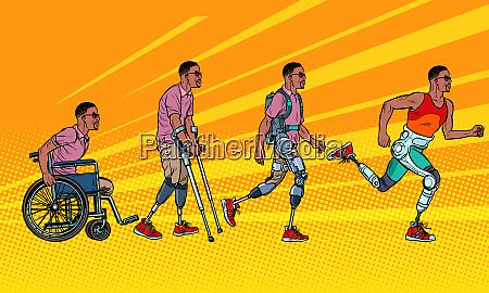 entwicklung der rehabilitation afrikanische mann beinprothese