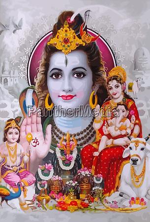 god, shiva, snake, and, lady, saraswati - 28160508
