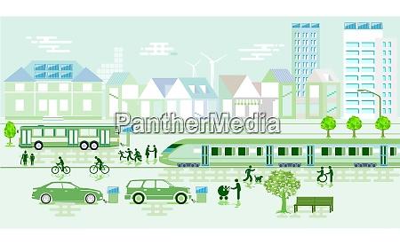 umweltfreundliche stadt mit umweltschutz