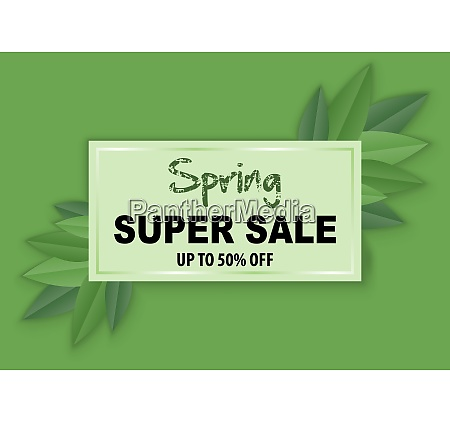 spring sale banner with leafs on
