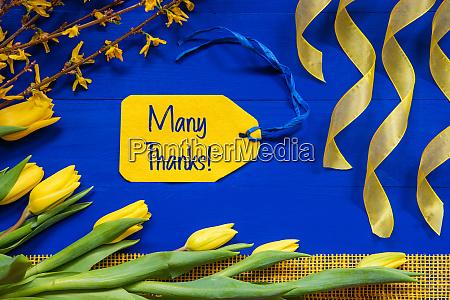 fruehling blumen dekoration zweig band label