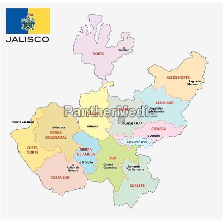 jalisco administrative und politische vektorkarte mit