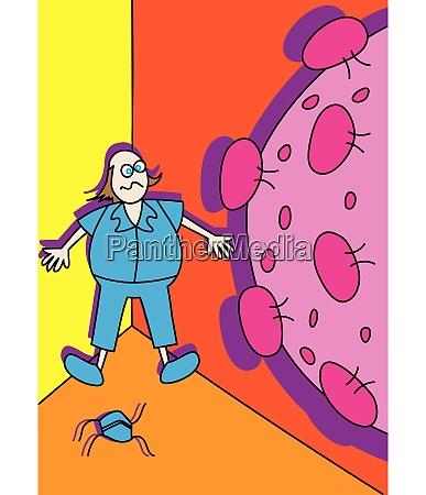lustige coronavirus gesundheitssystem unter stress cartoon