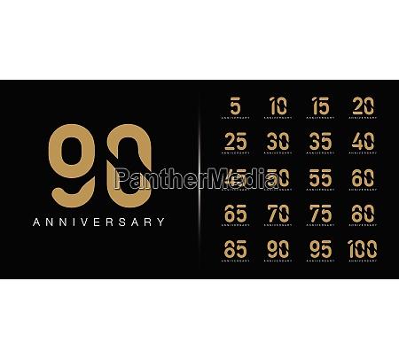 satz von premium jubilaeums logo goldene