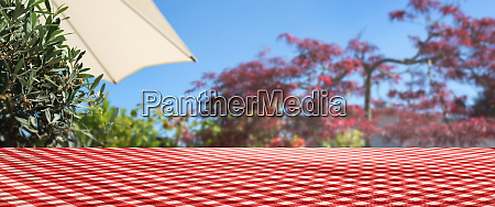 checkered tablecloth on summer terrace