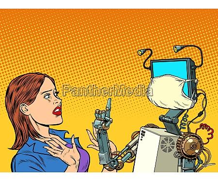 frau und roboter traegt eine medizinische