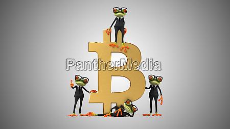 3d illustration von froeschen mit bitcoin