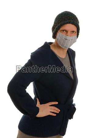 frau, mit, mundschutz, und, maske - 28231694