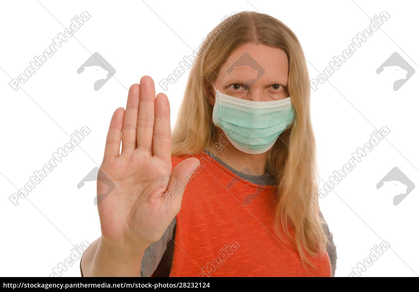 frau, mit, mundschutz, und, maske - 28232124