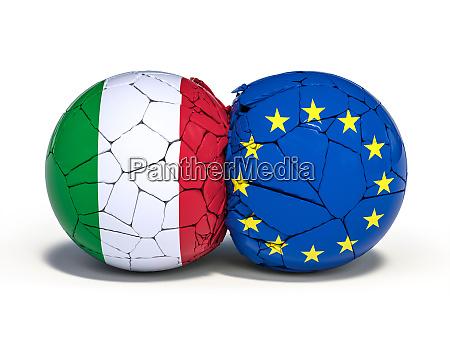 mit den flaggen italiens und europas