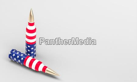gewehrkugeln mit amerikanischer flagge