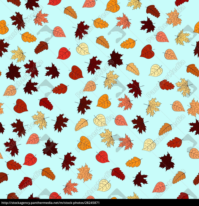 abstrakte, doodle, herbst, blätter, nahtlose, muster - 28245871