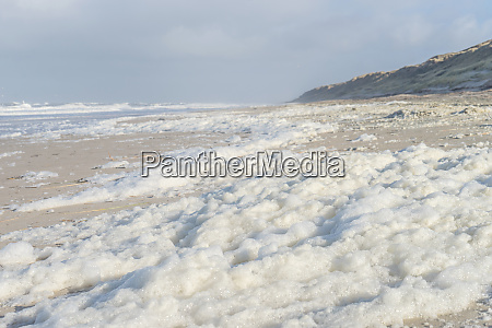 island of sylt with sea foam