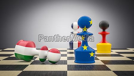 metaphorisches bild mit figuren eines schachbretts