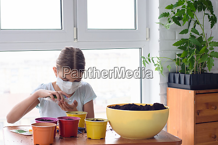 girl in self isolation at home