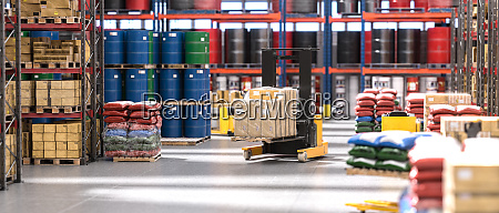 industrial interior of a warehouse with