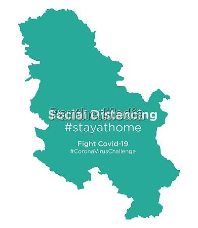serbien karte mit social distancing stayathome