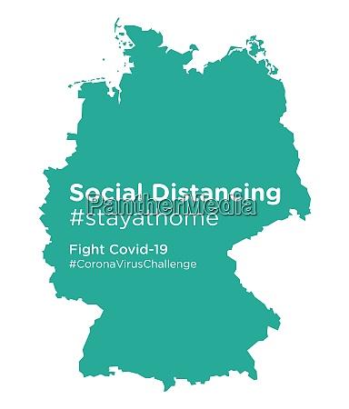 deutschlandkarte mit social distancing stayathome tag