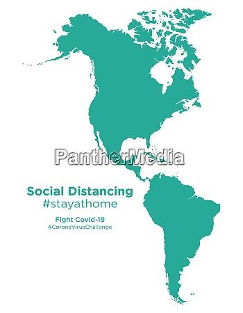 amerikanische kontinent karte mit social distancing