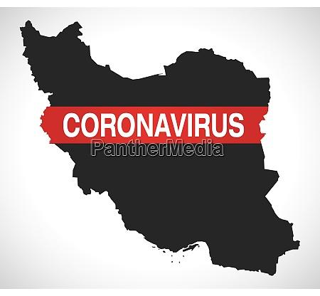 iran karte mit coronavirus warnung illustration