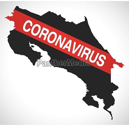 costa rica karte mit coronavirus warnung