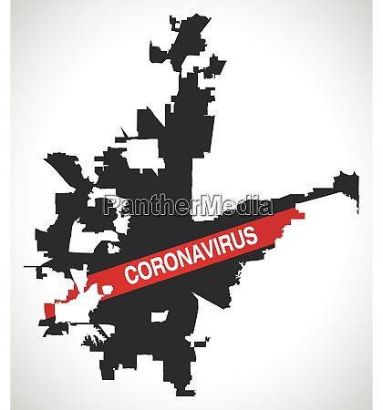 fort worth texas stadtplan mit coronavirus
