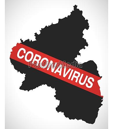 rheinland pfalz deutschland landeskarte mit coronavirus