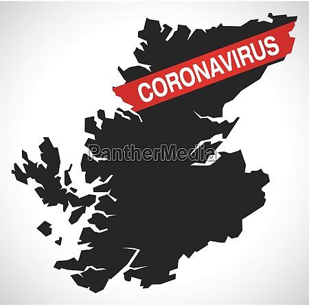 highland scotland uk region karte mit