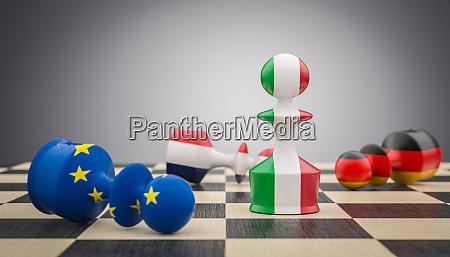 schachbauern mit italienischer franzoesisch deutscher und