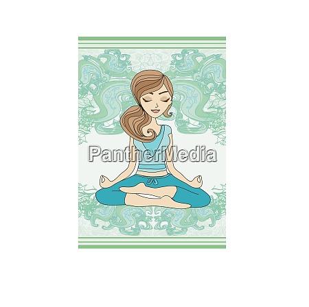 yoga maedchen in lotus position karte