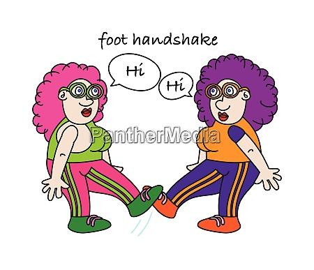 lustige coronavirus fuss handshake alternative