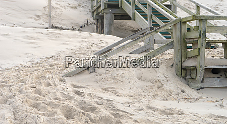 wooden stairs on the beach