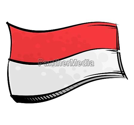 bemalte indonesien flagge weht im wind