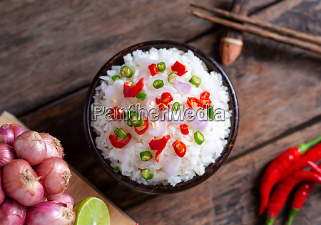brow rice spicy asian food with