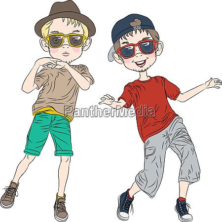 vektor lustige hipster jungen tanzen