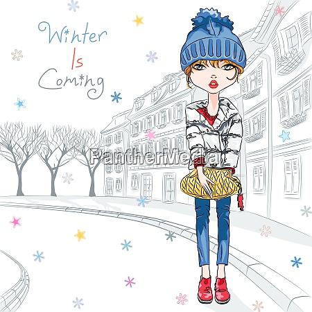 vector mode maedchen in winterkleidung in
