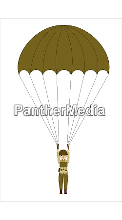 military paratrooper isolated on the white