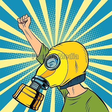 demonstrant in einer gasmaske protest fuer