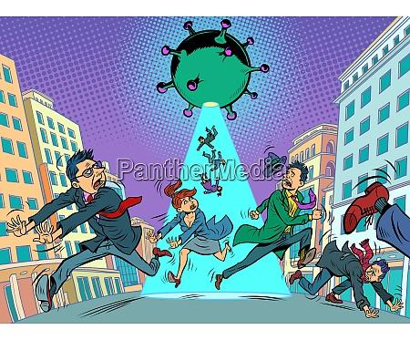 panik menschen die weg von coronavirus