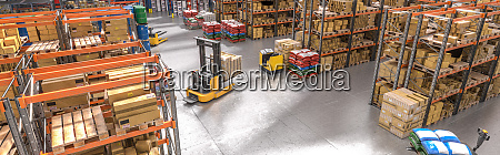 interior of a warehouse with shelves