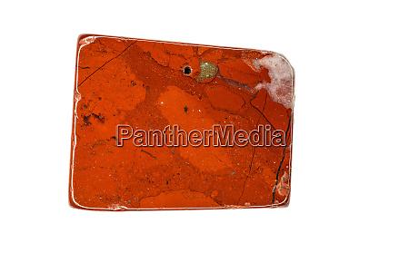 roter jaspis edelstein ausgeschnitten auf weissem