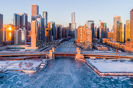 aerial view of chicago river frozen