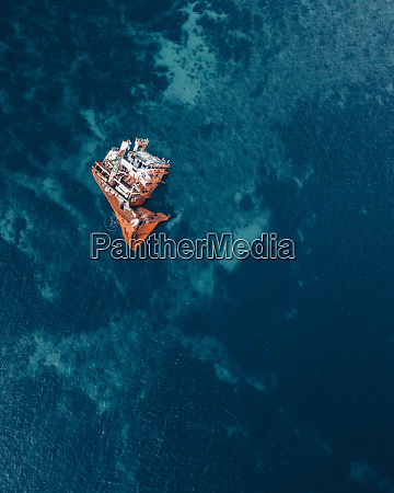 aerial view of wreckage of the