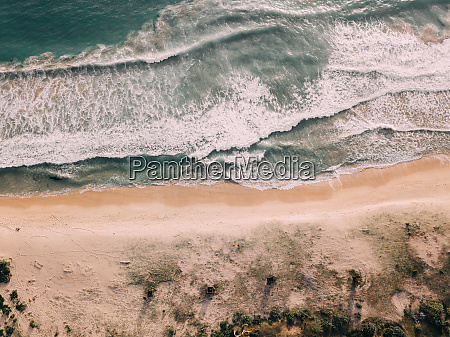 aerial view of sandy beach in