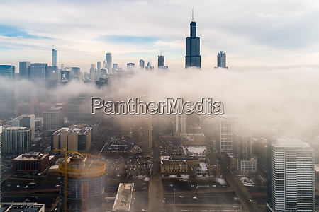 aerial view of dense fog covering