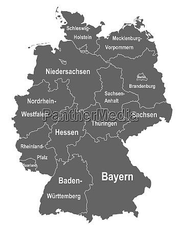 landkarte von deutschland mit allen bundeslaendern