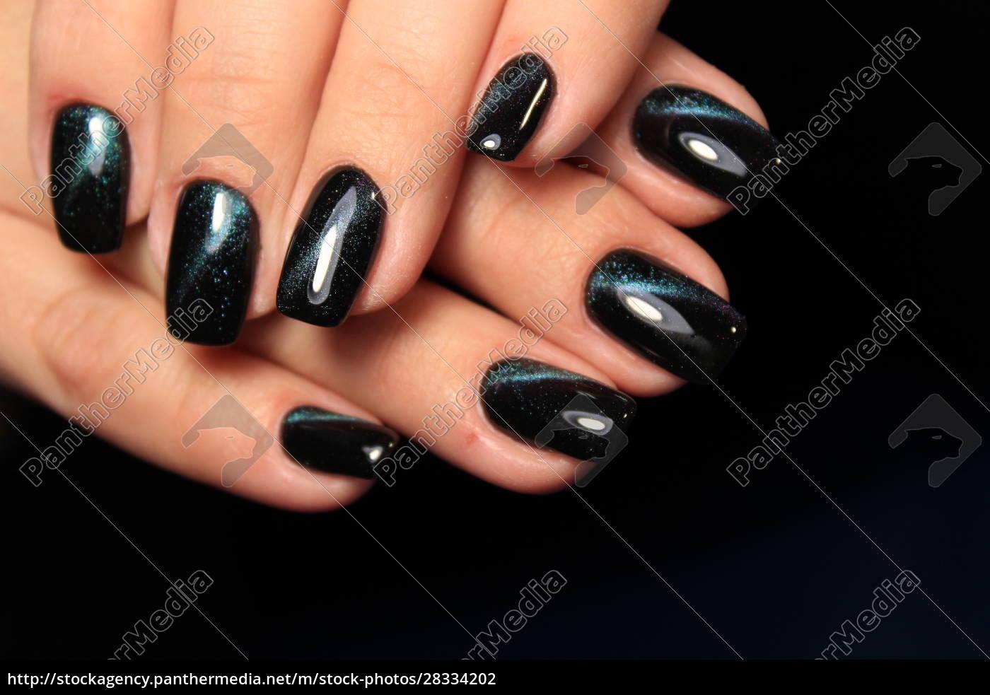 stylish, black, manicure, on, long, beautiful - 28334202