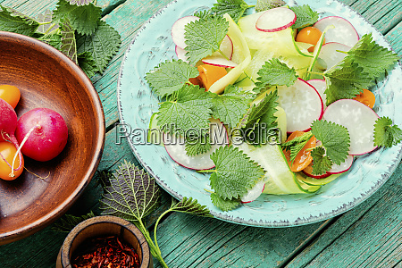fresh green salad with nettle