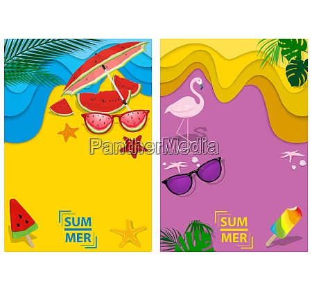 set of two designs summer background